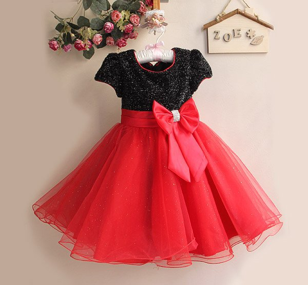 Children Girl Dress Infant Dress With Bow Girl Formal Party Dress kids Clothing(China (Mainland))