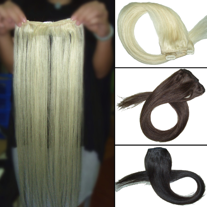 FREE SHIPPING 18 Inch One Pieces Clip in Hair 2Pcs/ Lot Ream Hair Straight Clip In Hair Extension Hair Accessories(China (Mainland))