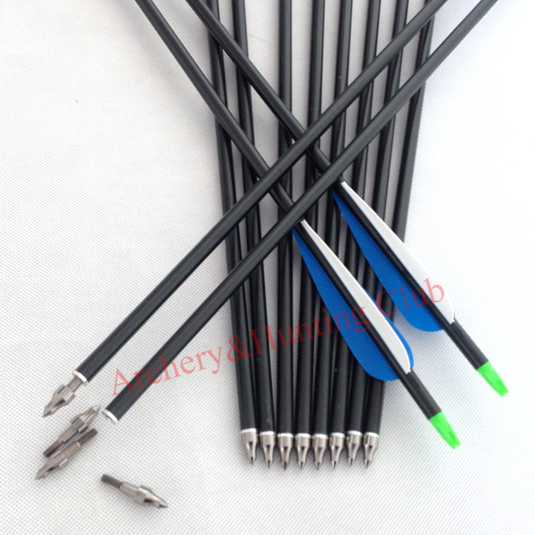24pcs lot 30 aluminum 8 8mm outer diameter arrow shaft with hunting target arrow tips fletching