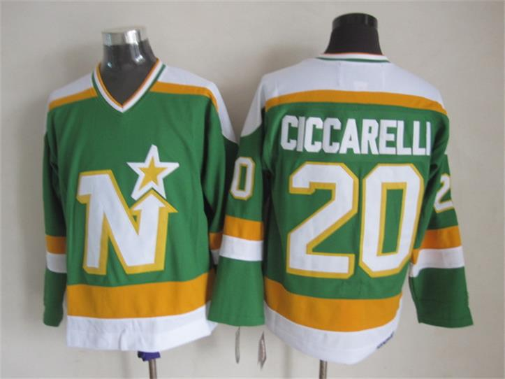 New Dallas Stars Mens Jerseys #20 Dino Ciccarelli Green CCM Vintage Ice Hockey Jersey(China (Mainland))