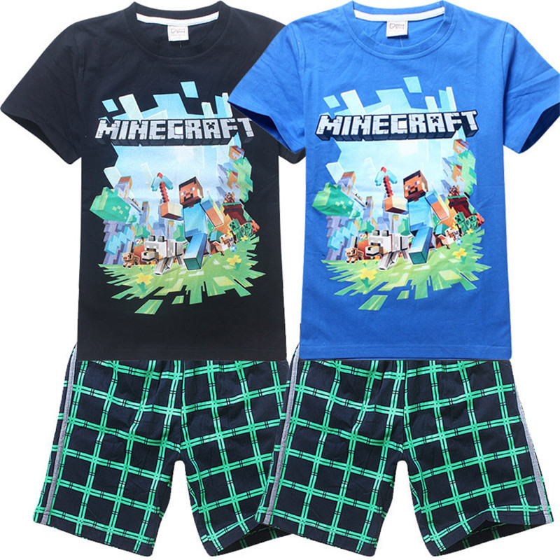 New 2015 brand cartoon children clothing set plaid kids shorts + t shirts boys 2pcs sport suit set fit for 5-14year(China (Mainland))