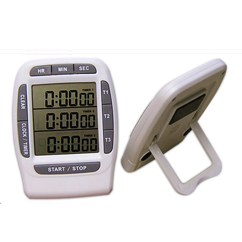 Free shipping, three channel independent display kitchen timer, LCD timer, Digital Kitchen Timer(China (Mainland))