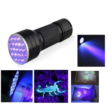 Aaa de aluminio Invisible Blacklight detección marcador de la tinta 21 LED UV Ultra Violet Mini linterna Portable de la antorcha luz(China (Mainland))