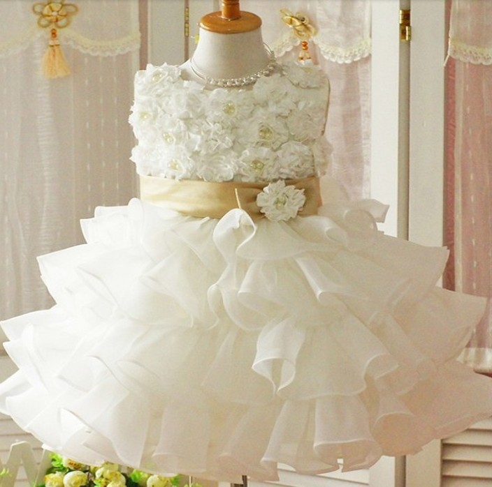 1pcs/lot The summer of 2015 The new pure white bow princess dress nice flower girl wear for wedding party(China (Mainland))
