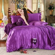 hot sale classic imitate silk feel satin plain solid coffee pink purple bedding set duvet cover set bedclothes bed sheet set(China (Mainland))