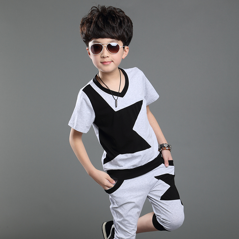 Boys Clothes Summer Style 2015 Tide Big Boy Clothing Set Cotton Patchwork Five Pointed Star O