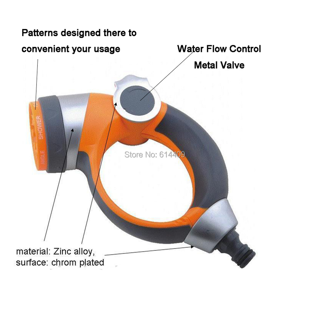 Soft Coated Hand-protected Round Handle Spray Gun with 7 Spray Patterns for Garden Irrigation as Water Gun also suit Pets Clean