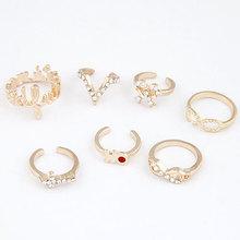 2014 new fashion Seven piece combination fingernails rings for women fashion jewelry wholesale