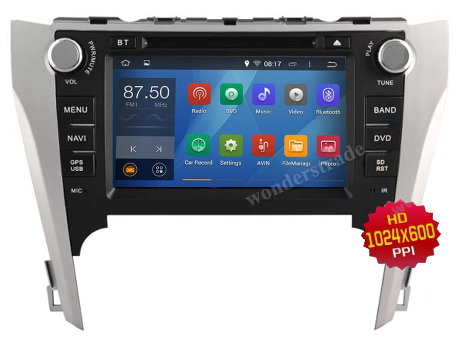 Android 4.4 Car DVD player Radio Stereo GPS for Eu version Toyota Camry 2012 - 2015 / 3G WIFI OBD DVR / 1024*600 HD screen(China (Mainland))