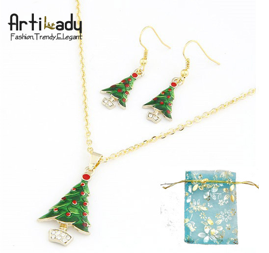 Artilady Christmas gift  jewelry bag free gold plated christmas tree necklace earring set wholesale for women 2013 free shipping