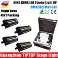 Freeshipping Flight Case 4in1 Packing 200W Led Strobe Light DMX 5 Channels 8 20W High Brightness