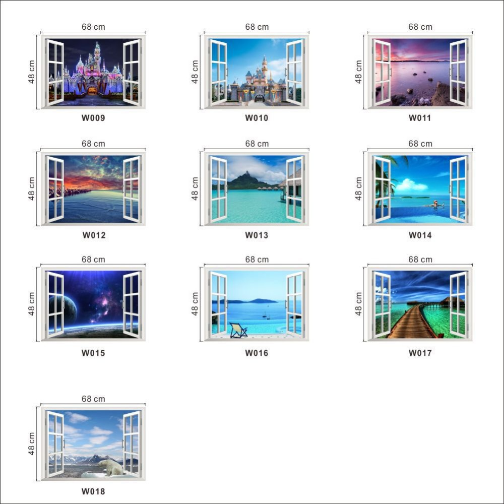 New&Hot!free shipping new idea Creative Wall Papers Castle Seaview 3D window The Wall Stickers Home Decoration For Living Room