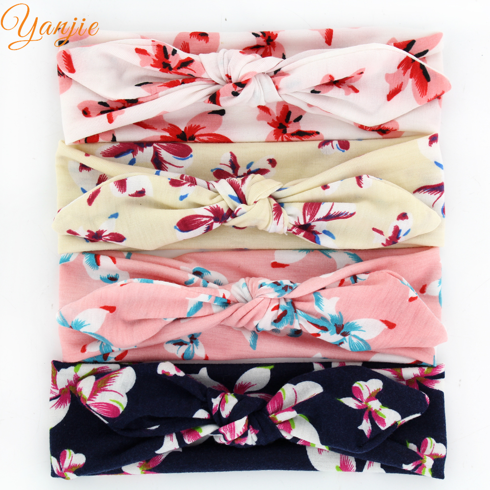 12pcs/lot Butterfly Flowers Rabbit Ear Hairband Baby Girls Floral Turban Knot Head Wraps Elastic Headbands Hair Accessories(China (Mainland))