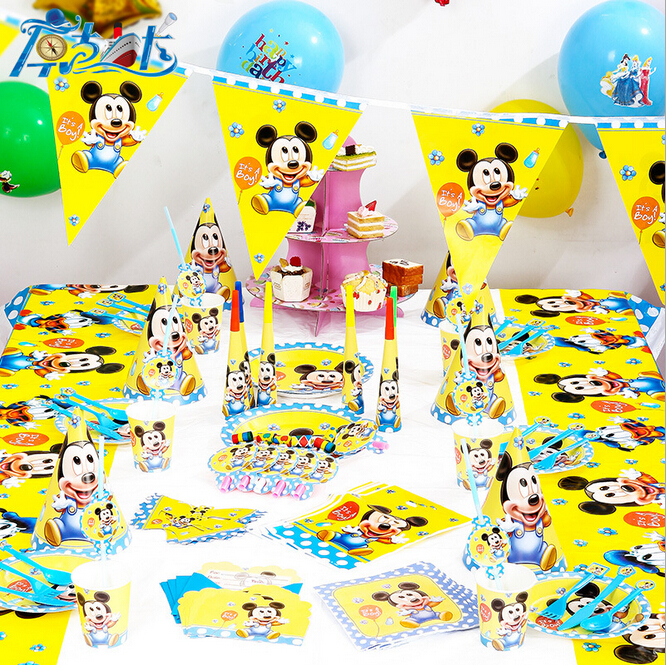 90pcs/New Mickey Mouse Theme Party Luxury kids boys and girls birthday decoration plates cups straws napkins party supplie(China (Mainland))