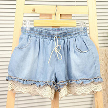 Fashion New Girl Elastic High Waist Denim Shorts Women Cute Loose Short Pant Lady Stretch Lace Crochet Cut-Off Jeans 2 Colors