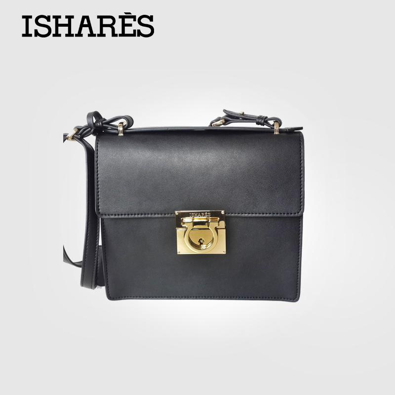 ISHARES Retro ladies black  flap mini Bag vintage buckle superior cowhide handbags shoulder bag for women IS8026<br><br>Aliexpress