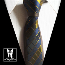 2016 branded necktie 5.5 cm stylish slim tie with golden chequers plaids