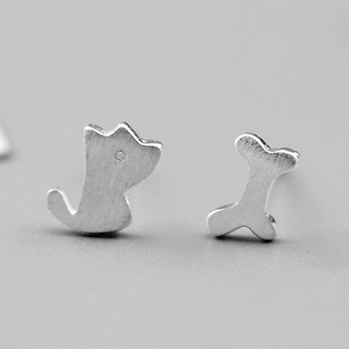 Lovely Animal Dog & Bone Shape Stud Earrings For Women Real 925 Sterling Silver Fashion Earings Jewelry 2015 Cute Brincos JJ20(China (Mainland))