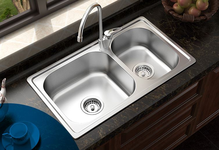 Free shipping kitchen faucet 304 stainless steel wash basin thickened wire drawing sink double groove set 29503SL(China (Mainland))