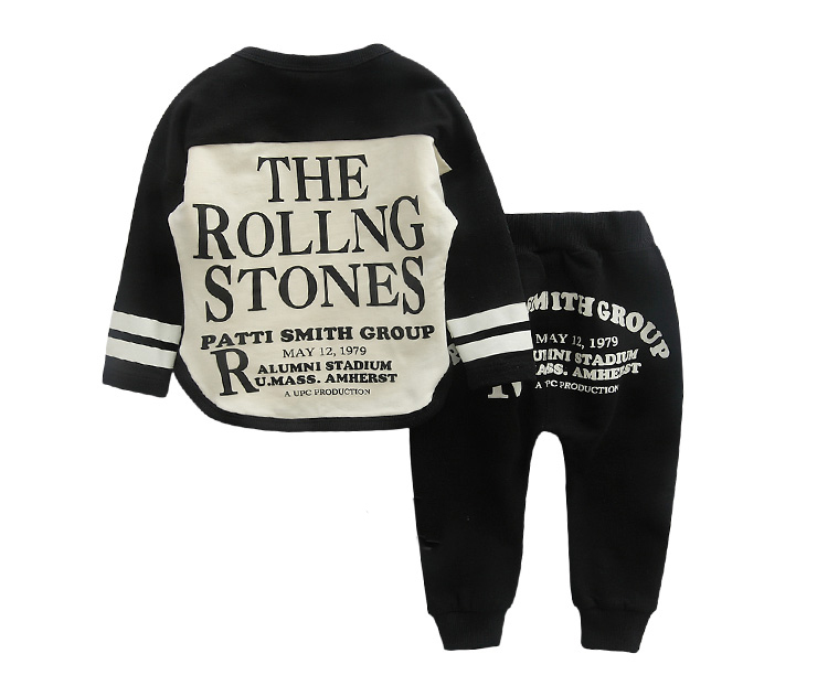 Newborn Clothing 2016 Hot O-neck 95%Cotton Letter Long Sleeve Baby Boy Clothing Set Fashion Baby Tracksuits rolling stones