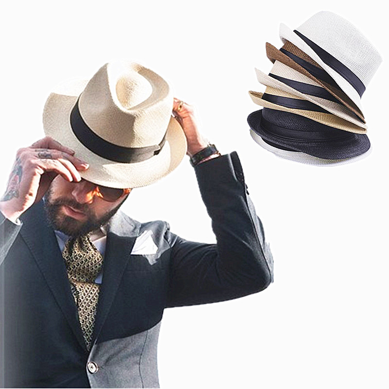 Straw Fedoras Hats for Women Men Panama Fedora 6Color Summer Style Beach Sun Jazz Mens Hat Black Ribbon Cowboy Cap Free Shipping(China (Mainland))