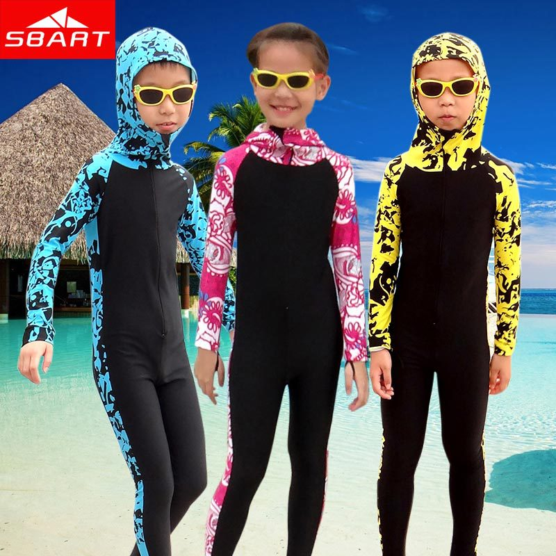 SBART New 2015 Wetsuit Kids Long Sleeve Full Body Hooded Children Diving Suit Surfing Wetsuits Kids Swim Wet Suits Lycra Surf L(China (Mainland))