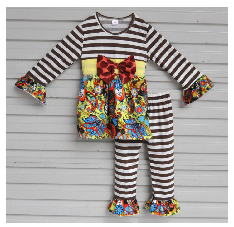 Yiwu Conice Bulk Wholesale Boutique Fall Outfits Ribbon Bow Deco Long Sleeve Top Stripe Pant Clothes Cheap Little Girls CX-105