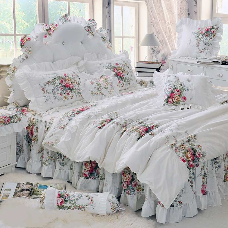 Pastoral Princess White Bedding Set Luxury 4/6pcs Printing Ruffles Duvet Cover Bed Skirt Bedspread Bedclothes Cotton Queen King(China (Mainland))