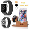 HOt Healthy 100 Natural Bamboo Charging Dock Station Wooden Stand Phone Holder For Apple iPhone Watch
