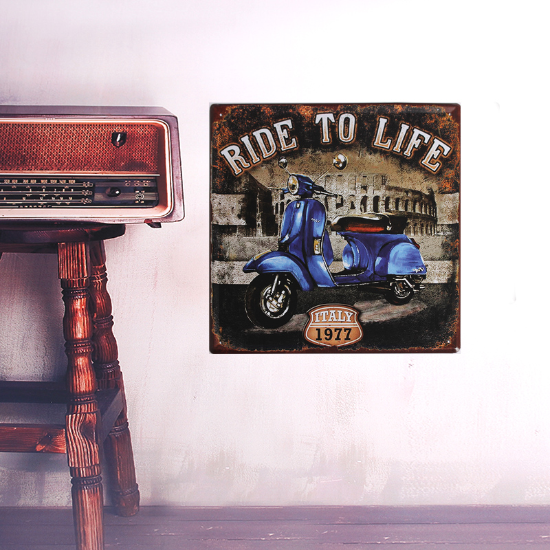 1 piece European style blue motorcycle metal iron Retro crafts Wall stickers pictures painting draw used for bar pub house(China (Mainland))