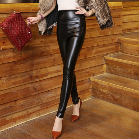 New Fashion Women Pants Casual PU Leather Leggings Pencil ...
