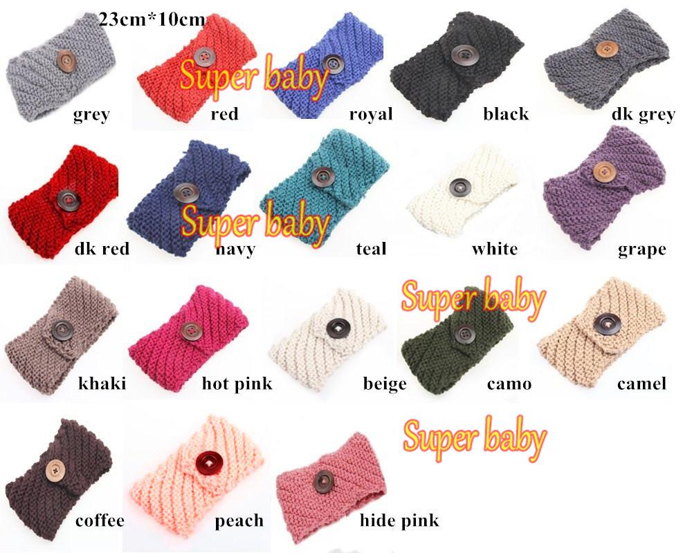 Earwarmer Buttons Head wrap WOOL Crochet Headband Ear warmer Gray Grey Dark Gray Warm Hair Band(China (Mainland))