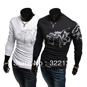 Men domineering wolf tattoo influx of men and necessary long-sleeved T-shirt 2 color 4 size 129050