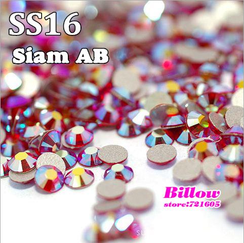 SS16 (3.8~4.0mm) Siam AB Nail Art Strass Non Hotfix Rhinestones 1440pcs/bag Glass Glitters for DIY Nails Decoration B0919(China (Mainland))