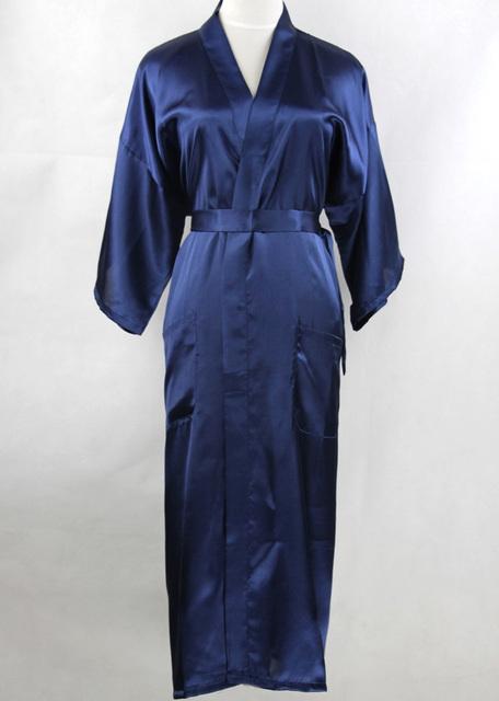 Темно-синий китайских мужчин шелковые с одеяние район кимоно пижамы с повязкой ночная ...