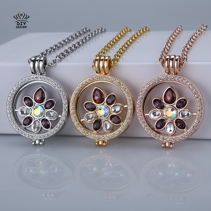 2016 top design crystal flower deluxe disc 33mm coins fit 35mm my coin holder pendant necklace set christmas gift free shipping(China (Mainland))