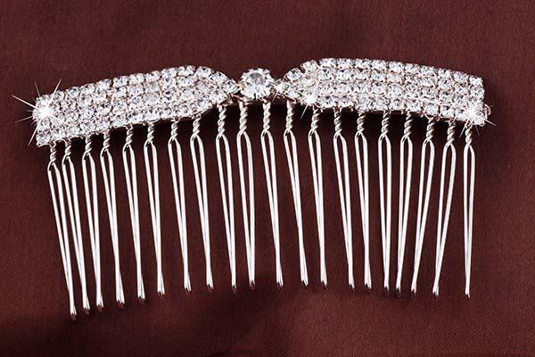 Fashion Beauty Lady Silver Bowknot Hair Comb Clip Cuff Crystal Head Headpiece Boho #905 - Mei Te Jewelry store