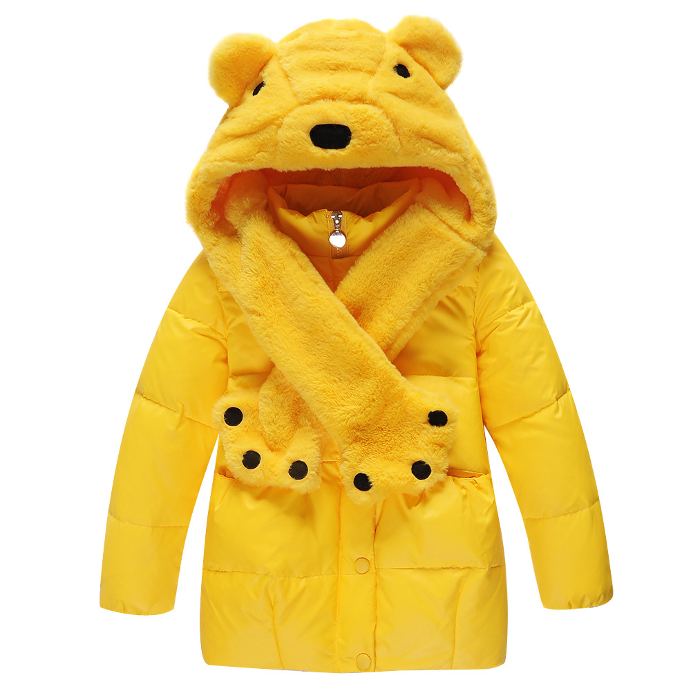 Kids Cartton Bear Winter Coats Little Grils Warm Candy Color Padded Cotton Long Jackets Hat Pink Red Yellow Blue 1168