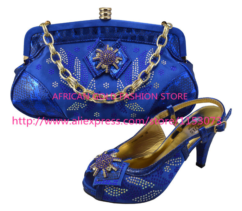 royal blue color shoe and bag set Italian matching shoes with handbag size 38 to 43,African lady dress!(China (Mainland))