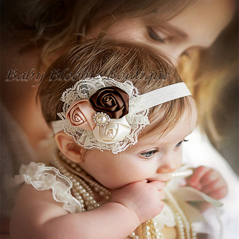 1PCS Retail Infant flower headband Babies pink lace hairband Toddler Baby girls Felt Flower headbands 17colors Free shipping A6(China (Mainland))