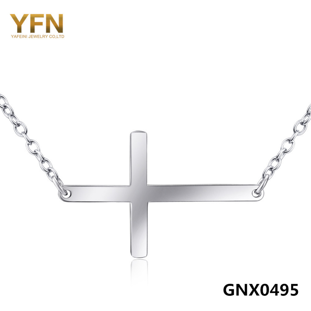 Sideways Cross Jewelry Necklace Wholesale 925 Sterling Silver Pendant Necklace For Women Fashion Jewelry GNX0495(China (Mainland))