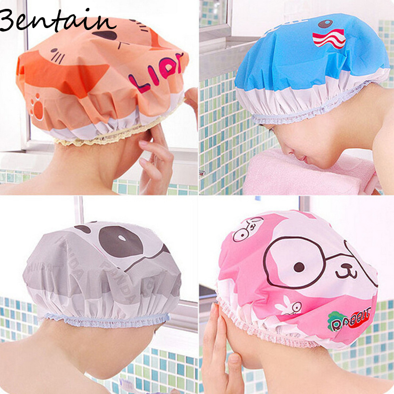 1 PC Animal Cutton Style Shower Cap Waterproof Shower Lace Elastic Band Bath Cute Cartoon Bathroom Accessories Tool Swim Hats(China (Mainland))