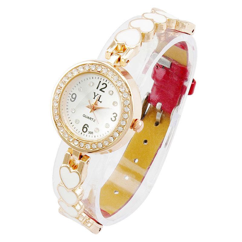 Fashion Women Dress Watch Ladies Luxury Bracelet Quartz Watch Female Diamond Reloj Wristwatches Love Heart Leather Band OP001(China (Mainland))