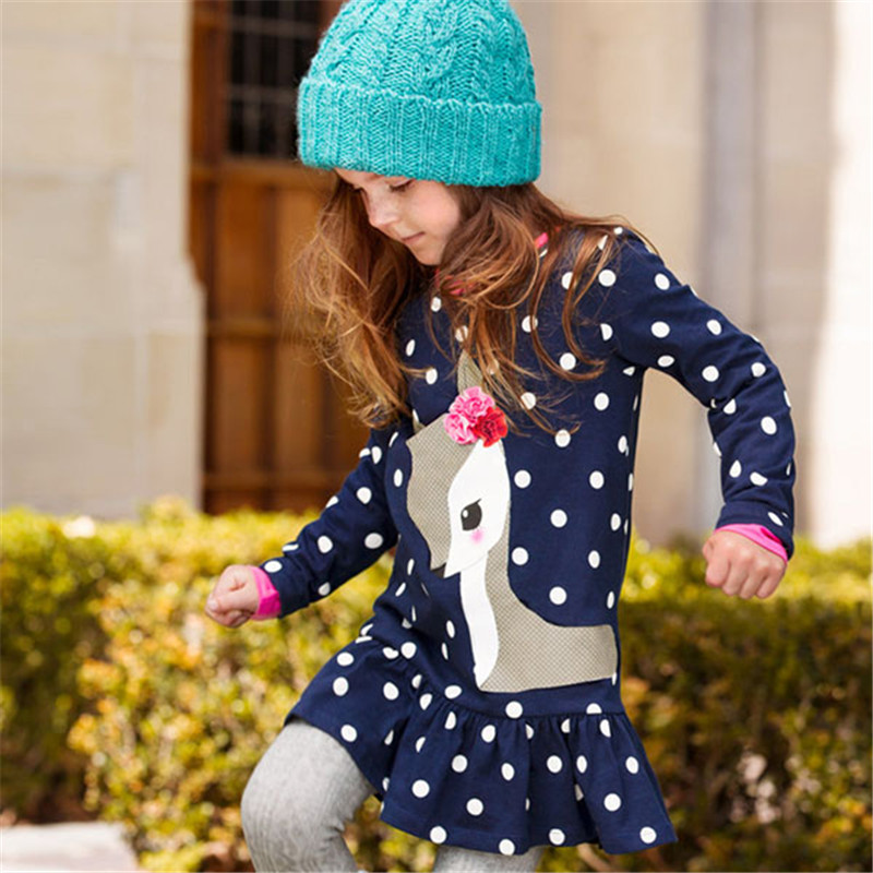 Baby Girl Clothes Kids Baby Girls Long Sleeve O-neck Dress One-piece Dots Deer Cotton Dresses Toddlers Clothes Kids Dress(China (Mainland))