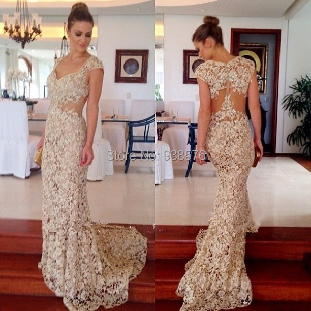 Vintage&Sexy Long Lace Mermaid Evening Dresses 2015 Charming V-Neck See Prom Party Gowns Robe De Soiree - Bridal Fashion Store store