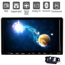 Rear Camera+7''Touch Screen Universal Double Din Car DVD CD MP3 Player Analog TV Bluetooth Ipod FM/AM Radio RDS USB SD Aux Input(China (Mainland))