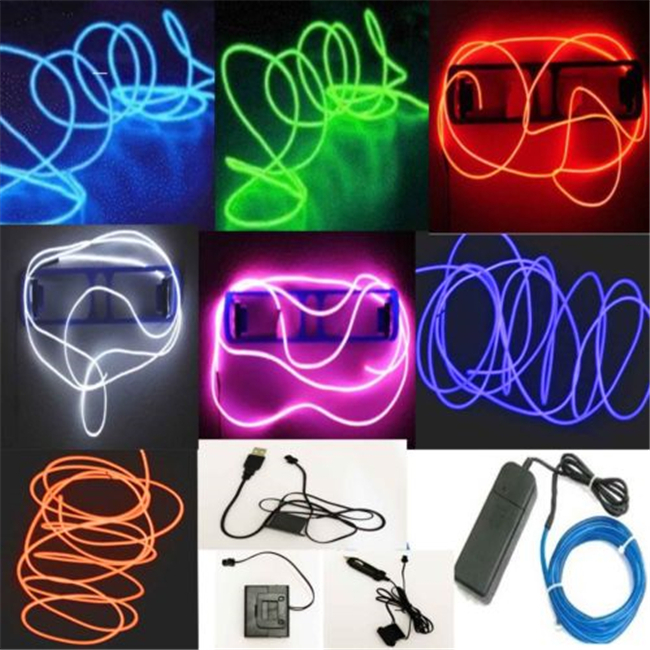 2015 HOT 5M Flexible Neon LED Light Glow EL Wire String Strip Rope Tube Car Dance Party&Controller Decorative Strip Lights n687(China (Mainland))