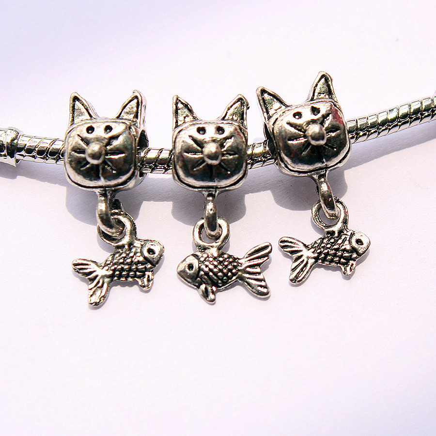 1pc free shipping DIY cat alloy beads fit Pandora style charms bracelet part neckless Jewelry accessories -9(China (Mainland))