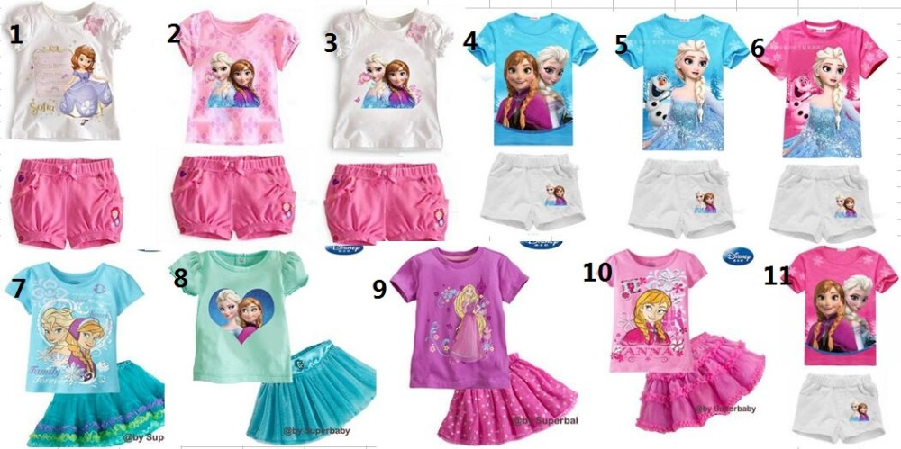 2016 New High Quality Summer Baby Girls Elsa Anna Clothes Sports Suit Short Sleeve T-shirt +Shorts Kids Childrens Clothing Sets(China (Mainland))