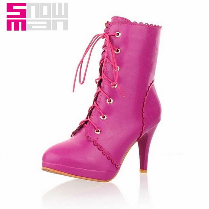 2015 Brand High Heels Shoes Martin Boots Platform Shoes Autumn Winter Boots Women Shoes Woman Fashion Lace Cross tie Ankle Boots
